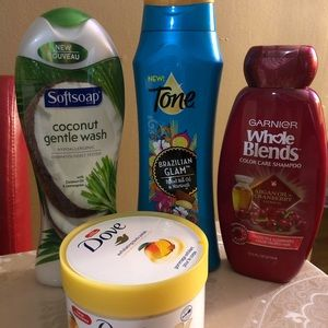 Body wash, exfoliating and color care shampoo